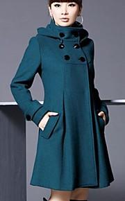 Trenchcoat ( Polyester/Uldblandinger ) Hverdag/Arbejde - Langærmet - Medium