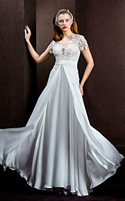 Lanting Bride® Trapèze Princesse Petites Tailles Grandes Tailles Robe de Mariage  Transparent Longueur Sol BijouxDentelle Mousseline de