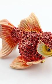 émail main une boîte à bijoux boîte de boîte de poissons bijou bijou de cristal