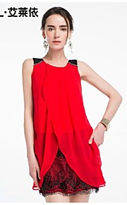 Women's Red/Gold Dress , Bodycon/Casual Sleeveless