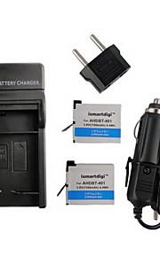 ismartdigi 401 x2 1160mah kamera batteri + eu stik + bil oplader til GoPro 4 kamera ahdbt 401