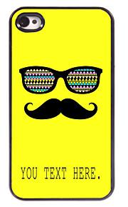 gepersonaliseerd geval snor en bril ontwerp metalen behuizing voor de iPhone 4 / 4s