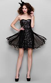 드레스 - 블랙 시스/컬럼 핫팬츠/미니 스위트하트 반짝이