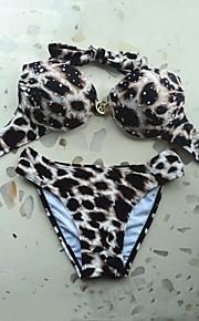 Women's Halter Dianmonade Leopard Bikini Swimsuit