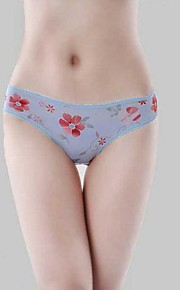 Women's Ice Silk Seamless Panties Flower Underwear Contract Briefs