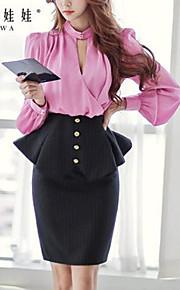 Rosa Puppe Frauen eleganter OL mit Rüschen besetzte vordere Schicht Rüsche-Rock