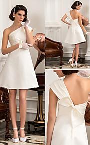 Lanting una línea / princesa más el tamaño de vestido de novia - marfil hasta la rodilla de un hombro satinado