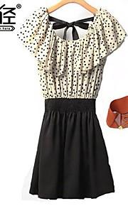 Women's Sleeveless Vestidos Polka Dots Ruffle Splicing Chiffon Mini Dress