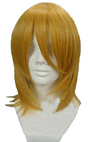 Angelaicos Unisex Attack On Titan Petra Rall Medium Straight Gold Layered Halloween Party Cosplay Hair Full Bob Wig