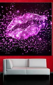 e-FOYER étiré conduit impression sur toile effet lèvres d'art flash LED clignotante impression de fibre optique