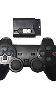 nye trådløse chok spil controller til PS2 / PS3 / PC trådløs controller (2.4GHz / sort)