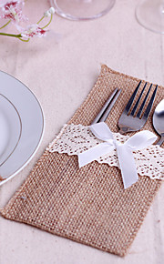 Serving Sets Wedding Cake Knife  Supplies Jute Bags Set of 10----White Bow