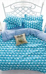 mingjie® 남자와 여자 침대 시트 중국 파란색 만화 고래 여왕과 트윈 사이즈 샌딩 침구 세트 4 개