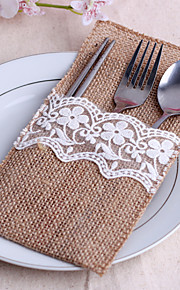 Serving Sets Wedding Cake Knife  Supplies Jute Bags Set of 10----White Embroidery