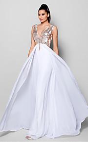 Официальный вечер Платье - Белый Трапеция V-образный Скользящий шлейф Шифон