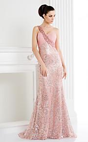 Heimkehr ts-Couture-Abendkleid - Trompete / Mermaid eine Schulter fegen / Pinsel Zug Pailletten