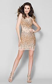возвращение т.с. кутюр официальное вечернее платье - шампанское оболочка / колонки совок короткий / мини тюль