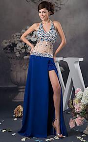 저녁 정장파티 드레스 - 로얄 블루 A라인 바닥 길이 홀터 사틴/명주그물