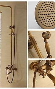 Mur en laiton antique de 8 pouces monté deux douche poignée fixé avec la tête de douche et douchette