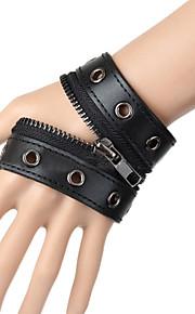 Unisex Fashion Punk Style Rivet Chain Bracelet Faux Leather