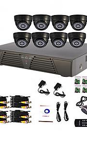 8-kanaals Thuis en Kantoor DHZ camerabewaking DVR-systeem (P2P Online, 8 koepelcamera's voor binnen)