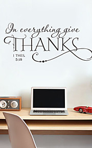 Wall Stickers Wall Decals, Thanks English Words & Quotes PVC Wall Stickers