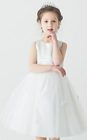Galajurk Knie-Lengte Bloemenmeisje jurk - Organza Mouwloos