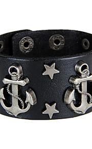 Unisex Western Style Punk Style Rivet  Chain Bracelet Faux Leather