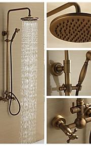 mur en laiton antique monté mélangeur pluie robinet de douche ensemble avec pomme de douche 8 pouces et douche à main