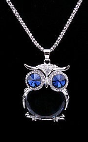 Fashion Women's Crystal Animal Sweater Chain Necklace with Owl Shaped Big Glass Pendant  Long Necklace (Blue)