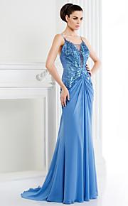 TS кутюр формальное вечернее платье - линии спагетти ремни развертки / щетка поезд шифона