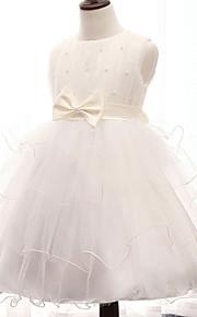 A-Lijn Knie-Lengte Bloemenmeisje jurk - Katoen/Tule/Polyester Mouwloos