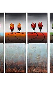 håndmalt abstrakt kraftige blomster oljemaleri på lerret 4pcs / set (uten ramme)