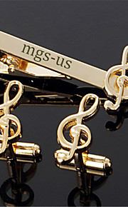 Personalized Gift Men's Engravable Golden Silver Music Note Treble Clef Pattern Cufflinks and Tie Bar Clip Clasp(1 Set)