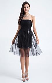신부 들러리 드레스 - 블랙 A라인/시스/컬럼 무릎길이 스트랩 없음 명주그물