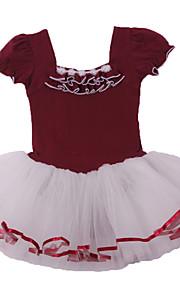 Ballet Dresses Children's Performance Cotton / Spandex Lace / Ruched 1 Piece Short Sleeve DressM:45cm,L: 47cm ,XL:50cm ,XXL:52cm,XXXL