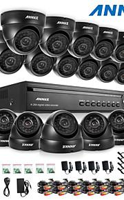 annke® 16ch dvr ecloud hdmi 1080p / VGA / BNC udgang 16pcs 900tvl CMOS 24leds dag / nat ir-cut kameraer IP66