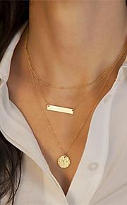 Metal Paillette Multilayers Short Necklace(Gold)(1Pc)