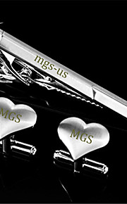Personalized Gift Men's Engravable Silver Plated Plain Heart Love Pattern Cufflinks and Tie Bar Clip Clasp(1 Set)