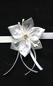 Garter Stretch Satin Flower White