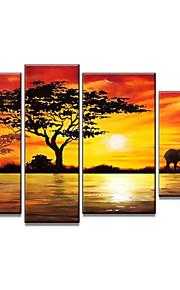 håndmalte moderne afrikansk landskap oljemaleri på lerret 4pcs / set (uten ramme)