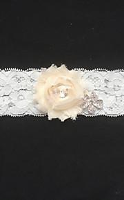Garter Lace Flower/Rhinestone Ivory