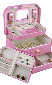 simili-cuir bijoux boîte stockage moderne cas perles regardent cadeau de jour de la boîte de cuir faux de la mère