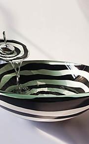 a espiral preto e branco rodada temperado pia vaso de vidro com torneira em cascata, pop - up de drenagem e anel de montagem