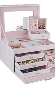 classique moderne stockage collier bracelet boîte à bijoux en similicuir d'anniversaire pendentif cas armoire armoire
