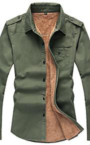 Camicia Uomo Casual Tinta unita Manica lunga Cotone