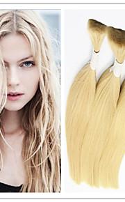 """3шт / Лот 613 светлые волосы объемные прямые индийские девственные волосы основная расширения 14 """"-32"""" человеческого плетение волос"""
