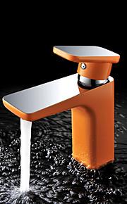 moderne halvdel krom&halv maleri orange farve messing varmt og koldt enkelt håndtag badeværelse vask vandhane håndvaskarmatur