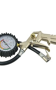 goudkleurige auto motorfiets band inflator pistool w manometer 0-16 bar 0-220 psi