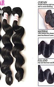 """3 шт много 8 """"-30"""" перуанский девственные волосы свободная волна утки натуральный черный 1b # Реми человеческие волосы плести жгуты"""